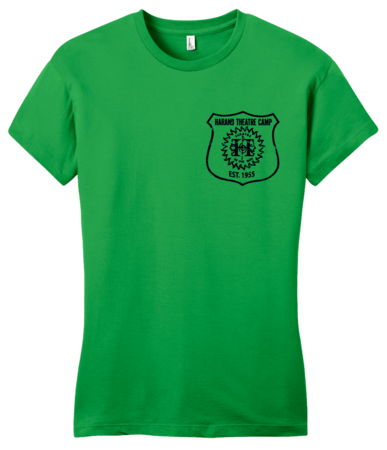 Harand Theatre Camp - Left Chest Navy Shield Logo Girly Green Blank with Depth