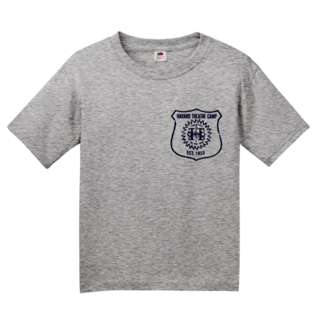 Harand Theatre Camp - Left Chest Navy Shield Logo Youth Grey Blank with Depth