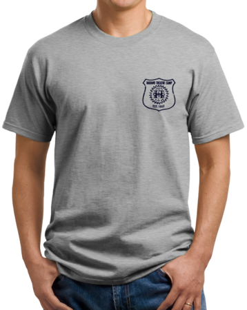 Harand Theatre Camp - Left Chest Navy Shield Logo Unisex Grey Stock Model Front 1 Thumb