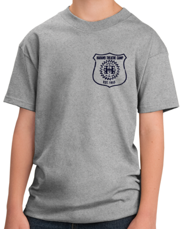 Harand Theatre Camp - Left Chest Navy Shield Logo Youth Grey Stock Model Front 1 Thumb