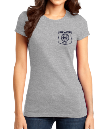 Harand Theatre Camp - Left Chest Navy Shield Logo Girly Grey Stock Model Front 1 Thumb