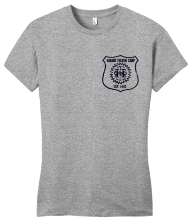 Harand Theatre Camp - Left Chest Navy Shield Logo Girly Grey Blank with Depth
