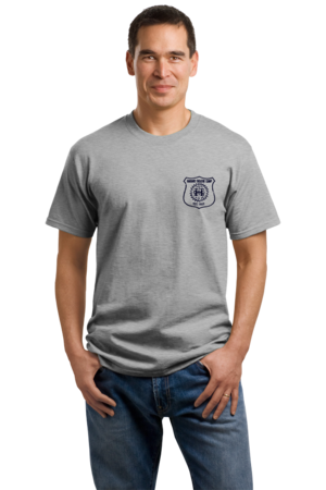 Harand Theatre Camp - Left Chest Navy Shield Logo Unisex Grey Stock Model Front 1