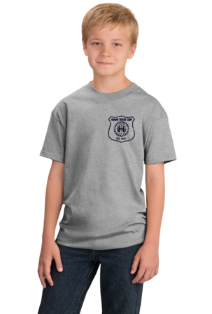 Harand Theatre Camp - Left Chest Navy Shield Logo Youth Grey Stock Model Front 1