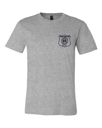 Harand Theatre Camp - Left Chest Navy Shield Logo Standard Grey Blank with Depth