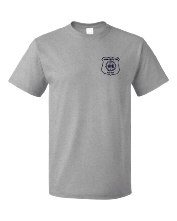 Harand Theatre Camp - Left Chest Navy Shield Logo Unisex Grey Blank with Depth