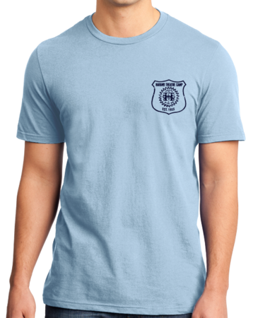 Harand Theatre Camp - Left Chest Navy Shield Logo Standard Light blue Stock Model Front 1 Thumb