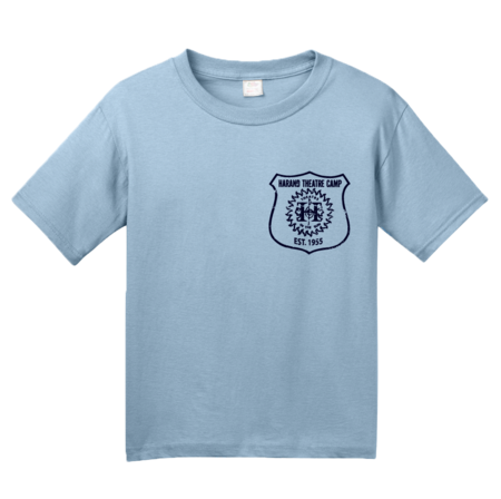 Harand Theatre Camp - Left Chest Navy Shield Logo Youth Light blue Blank with Depth