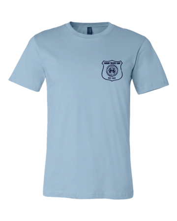Harand Theatre Camp - Left Chest Navy Shield Logo Standard Light blue Blank with Depth