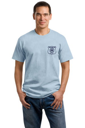 Harand Theatre Camp - Left Chest Navy Shield Logo Unisex Light blue Stock Model Front 1