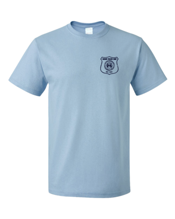 Harand Theatre Camp - Left Chest Navy Shield Logo Unisex Light blue Blank with Depth