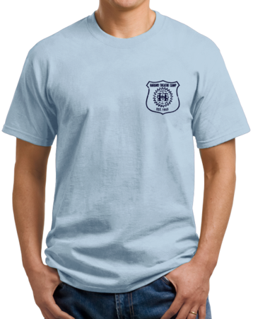 Harand Theatre Camp - Left Chest Navy Shield Logo Unisex Light blue Stock Model Front 1 Thumb