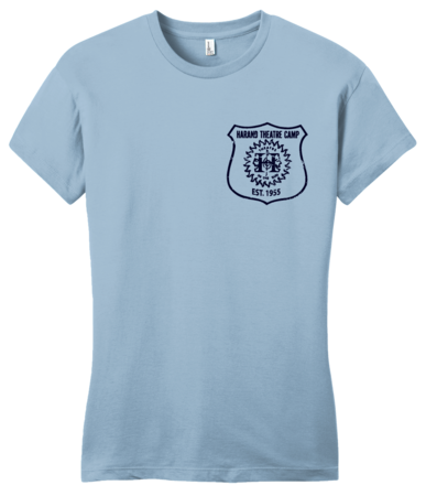 Harand Theatre Camp - Left Chest Navy Shield Logo Girly Light blue Blank with Depth