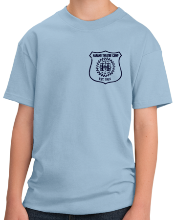 Harand Theatre Camp - Left Chest Navy Shield Logo Youth Light blue Stock Model Front 1 Thumb