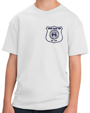 Harand Theatre Camp - Left Chest Navy Shield Logo Youth White Stock Model Front 1 Thumb
