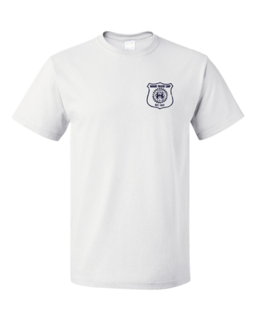 Harand Theatre Camp - Left Chest Navy Shield Logo Unisex White Blank with Depth
