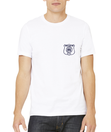 Harand Theatre Camp - Left Chest Navy Shield Logo Standard White Stock Model Front 1 Thumb