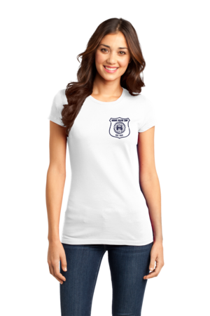 Harand Theatre Camp - Left Chest Navy Shield Logo Girly White Stock Model Front 1