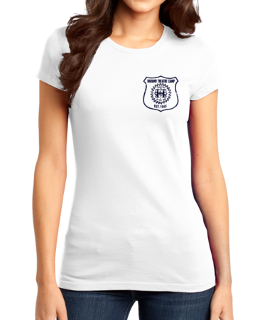 Harand Theatre Camp - Left Chest Navy Shield Logo Girly White Stock Model Front 1 Thumb