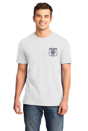 Harand Theatre Camp - Left Chest Navy Shield Logo Standard White Stock Model Front 1
