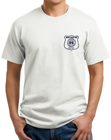 Harand Theatre Camp - Left Chest Navy Shield Logo Unisex White Stock Model Front 1 Thumb