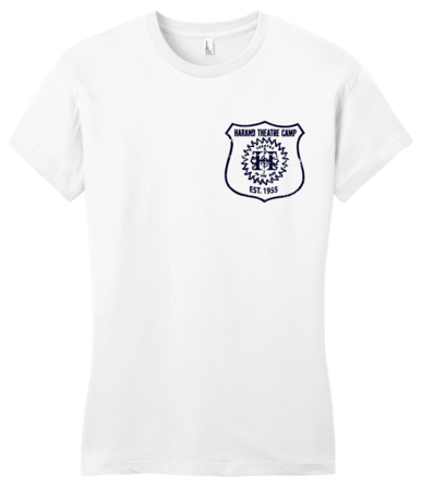 Harand Theatre Camp - Left Chest Navy Shield Logo Girly White Blank with Depth