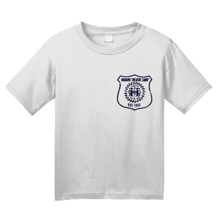 Harand Theatre Camp - Left Chest Navy Shield Logo Youth White Blank with Depth