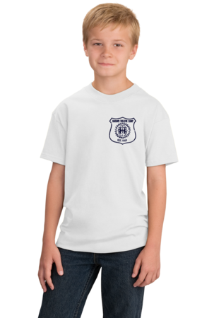 Harand Theatre Camp - Left Chest Navy Shield Logo Youth White Stock Model Front 1
