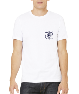 Harand Theatre Camp - Left Chest Navy Shield Logo T-shirt