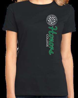 White Ink Vertical Honors Logo, Left Chest T-shirt