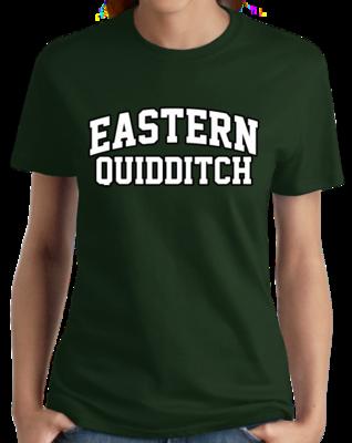 Eastern Quidditch Arched, Black Outline Design T-shirt