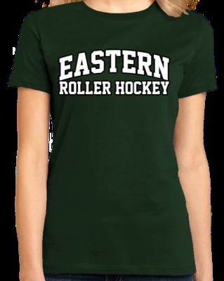 Eastern Roller Hockey Arched, Black Outline Design T-shirt