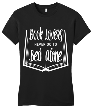 Book Lovers Never Go To Bed Alone Girly Black Blank with Depth