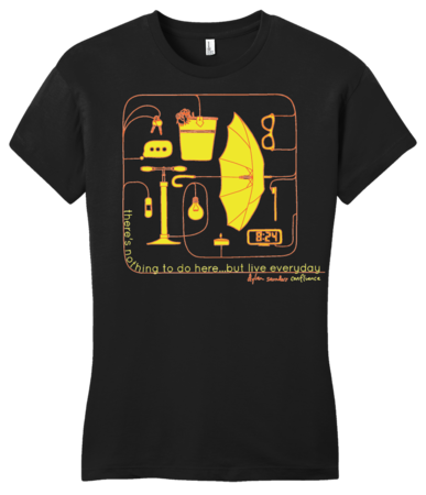 Dylan Saunders: Confluence T-shirt Girly Black Blank with Depth Front