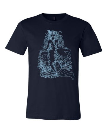 Jaime Lyn Beatty - Light Blue Dolphin Safe Tunes Tee Standard Navy Blank with Depth Front