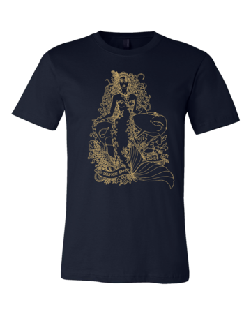 Jaime Lyn Beatty - Gold Print Dolphin Safe Tunes Tee Standard Navy Blank with Depth Front