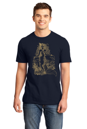 Jaime Lyn Beatty - Gold Print Dolphin Safe Tunes Tee Standard Navy Stock Model Front 1 Front