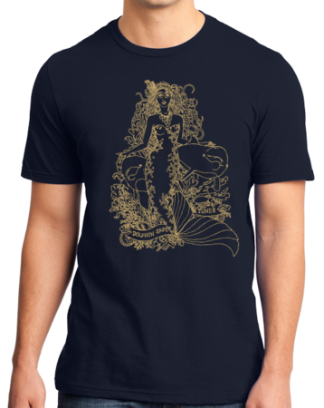 Jaime Lyn Beatty - Gold Print Dolphin Safe Tunes Tee Standard Navy Stock Model Front 1 Thumb Front