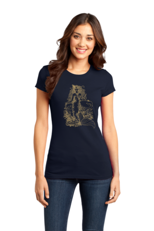 Jaime Lyn Beatty - Gold Print Dolphin Safe Tunes Tee Girly Navy Stock Model Front 1 Front