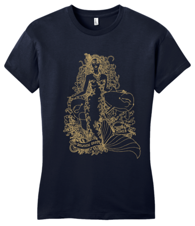 Jaime Lyn Beatty - Gold Print Dolphin Safe Tunes Tee Girly Navy Blank with Depth Front