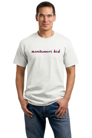 Montessori Kid Unisex White Stock Model Front 1