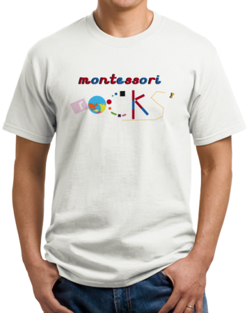 Montessori Rocks Unisex White Stock Model Front 1 Thumb