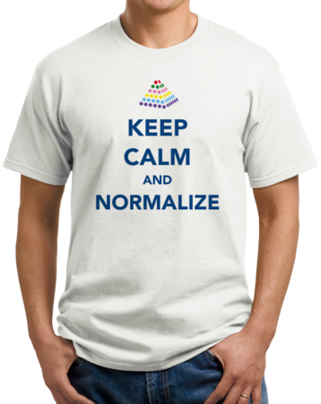 Keep Calm and Normalize Unisex White Stock Model Front 1 Thumb