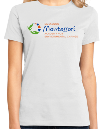 Muskegon Montessori Academy for Envrionmental Change Logo Light Ladies White Stock Model Front 1 Thumb