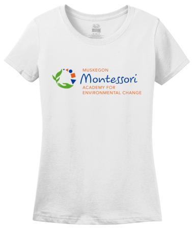 Muskegon Montessori Academy for Envrionmental Change Logo Light Ladies White Blank with Depth