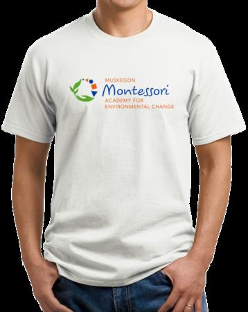Muskegon Montessori Academy for Environmental Change Logo Light Unisex White Stock Model Front 1 Thumb