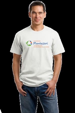 Muskegon Montessori Academy for Environmental Change Logo Light Unisex White Stock Model Front 1