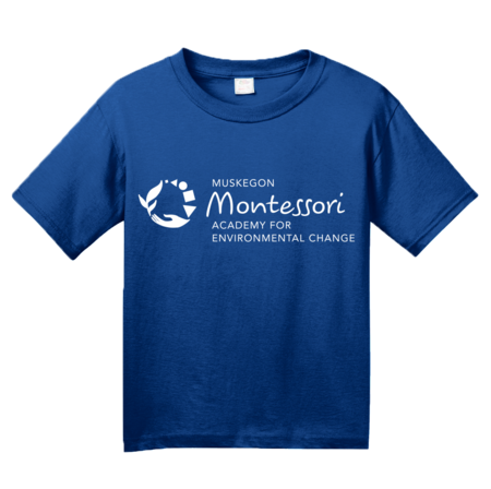 Muskegon Montessori Academy for Environmental Change Logo Dark Youth Royal Blank with Depth
