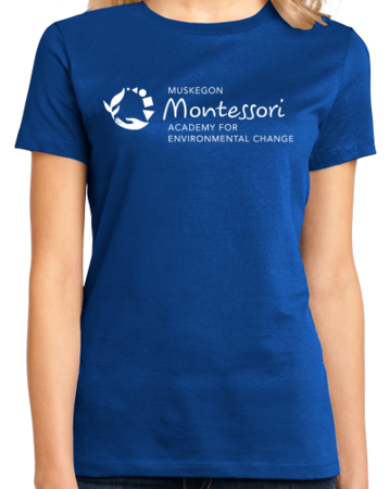 Muskegon Montessori Academy for Envrionmental Change Logo Dark Ladies Royal Stock Model Front 1 Thumb