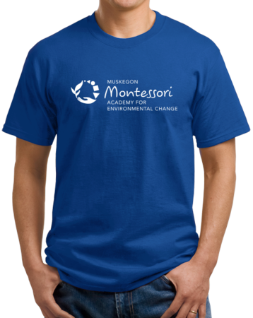 Muskegon Montessori Academy for Environmental Change Logo Dark Unisex Royal Stock Model Front 1 Thumb